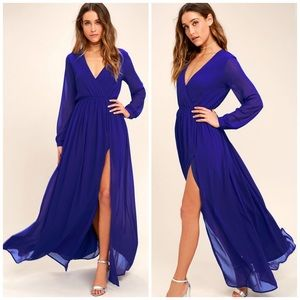 Lulu's Wondrous Water Lilies Royal Blue Maxi Dress